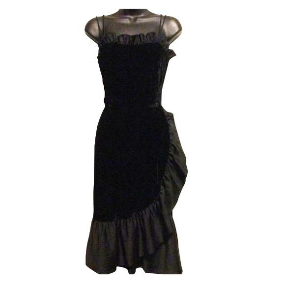 Vintage Dresses & Skirts - Vintage Velvet Ruffle Dress